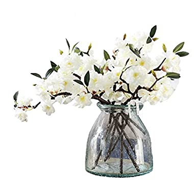 JAROWN 5 Pcs Cherry Blossom Artificial Flowers Branches Silk Sakura Flower Petals for Home Crafts Decoration(White)