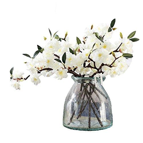 5 branches de fleurs artificielles de cerisier JAROWN, 39 cm environ, feuilles vertes Sakura en soie, pour la maison, l'artisanat et la décoration, Soie, blanc, 15.7\