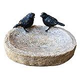 Birds On Stone Bowl Resin Outdoor Bird Bath Food Feeder Dish Sculpture Ornament