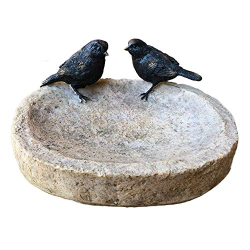 Birds On Stone Bowl Resin Outdoor Bird Bath Food Feeder Dish Sculpture Ornament