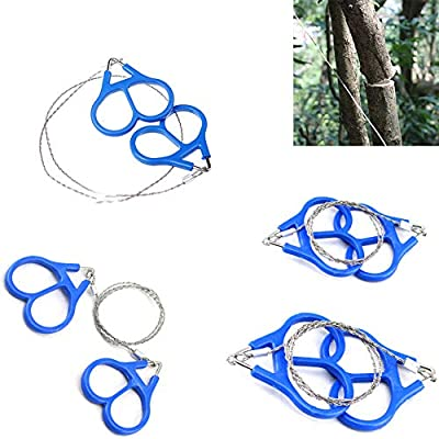 4Pcs Wire Saw Rope Saw, Stainless Steel Emergency Camping Survival Tool Chain, Mini Cable Survival Gear Pocket Saw for Survival Gear, Camping, Tree Cutting or Emergency Kit with Plastic Finger Handle