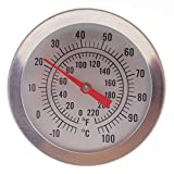 Home Brew Thermometer 52 mm Dial and 300 mm Probe Length with Attachment Clip - Home Brew Equipment