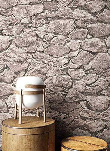 NEWROOM Steintapete Tapete Beige Mauer Stein Modern Vliestapete Grau Vlies moderne Design 3D Optik Steintapete Ziegelstein Backstein Mauerwerk Klinker Loft inkl. Tapezier Ratgeber