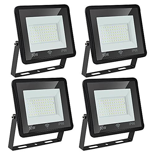 Rotemion Foco LED 4er 50 W con Detector de Movimiento Exterior, 4250LM Proyector LED Superbrillante 6000K Blanco Frío luz de pared, Impermeable IP66 para Jardín, Campo Deportivo, Patio, Puertas