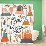 Awowee Cortina de ducha decorativa de viaje Bon Voyage Londres Vintage Paris perro mapa retro 180 x 180 cm, tela de poliéster impermeable juego de cortinas de baño con ganchos para baño