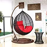 Credenza Iron Swing Chair for Home | Swing Chair with Stand XXL Size Round Shape | Hanging Swing for Adults, Kids for Indoor, Outdoor, Home, Patio, Yard, Balcony, Garden (150 Kg Capacity, Black)