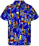V.H.O. Funky Camisa Hawaiana, Beerbottle, Azul, M