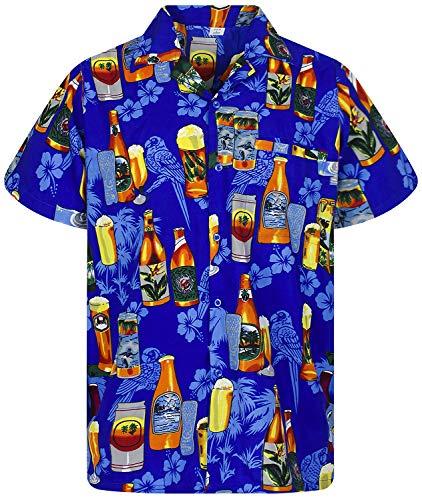 V.H.O. Funky Hawaiihemd, Kurzarm, Bierflaschen, Blau, L