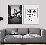 Manhattan Bridge New York Quotes Wall Art Canvas Painting Abstract Nordic Posters and Prints Wall Pictures Living Room Decor 50x70cmx2pcs sin Marco