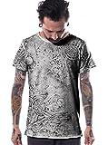 Camiseta de Estampado Total - Camisetas Originales con Arte Urbano y Bordes recortados para Hombre - Talla XL, Gris