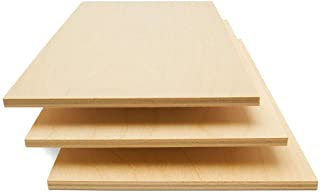 Baltic Birch Plywood, 6 mm 1/4 x 12 x 20 Inch Craft Wood, Pack of 12 B/BB Grade Baltic Birch Sheets, Perfect for Laser, CN...