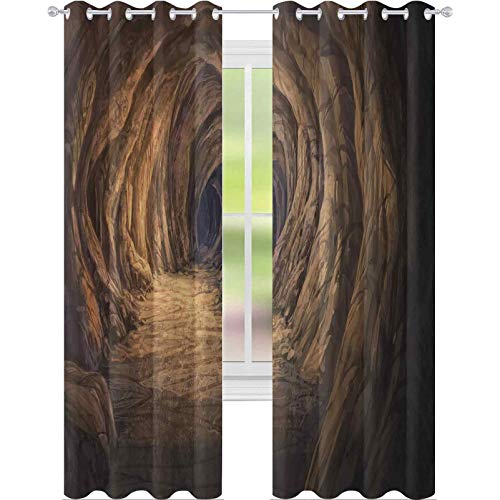 Bedroom blackout curtains, Ancient Geologic Formation in Digital Painting Style Subterranean Tunnel with a Gate, W96 x L96 Inch For Sliding Glass Doors Living Room, Pale Brown
