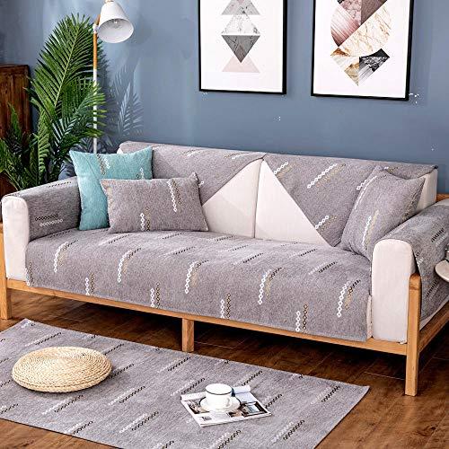 Suuki Fundas para Sofas,Funda De Sofá Chaise,Funda de sofá de Dormitorio, Fundas de cojín de sofá de Chenilla de jardín,Protector de sofá Antideslizante Protector-Grey_70-Vendido por Pieza
