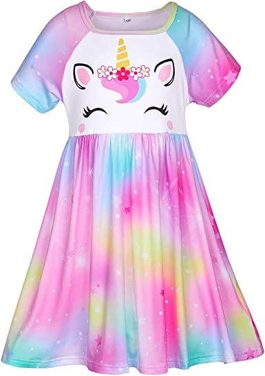 Amazon Com Unicorn Nightgown For Girls Pajamas Night Dress Short Sleeve Princess Nightgowns Kids Girl Sleep Dress Nightie Clothing