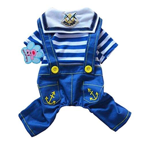 Nouveau mode bleu à rayures minces style Animaux Vêtements Chiens Vêtements, S