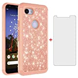Phone Case for Google Pixel 3a XL with Tempered Glass Screen Protector Cover and Cell Accessories Rugged Bling Glitter Hybrid Silicone Rubber Pixel3aXL Pixle 3aXL A3 Pixel3a LX Cases Women Girls Pink