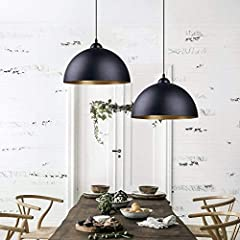 2 Pcs Vintage Pendant Light - FRIDEKO HOME Industrial Metal Ceiling Pendant Lights Black Lampshade E27 Base for Bedroom Loft Kitchen Coffee Shop #4