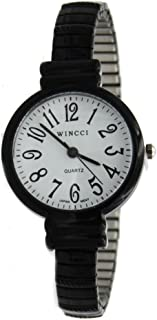 Women Black Stretch Band Easy to Read Medium Size Watch