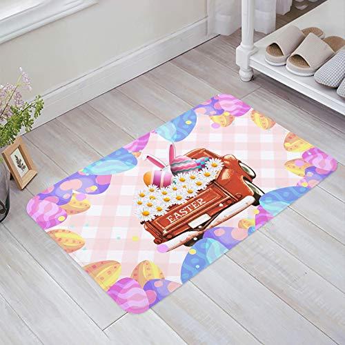 Alfombra estera del piso Tapetes Felpudo Camión Margarita Huevos Pascua Conejo Checker Rosa alfombras 40X60CM