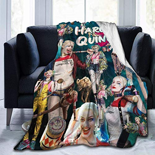 Manta de Forro Polar Har-Ley Qui-nn - Ligera y acogedora para Camas, sofá, sillón, Picnic, Camping, Viajes, Regalos de 50 x 40 Pulgadas