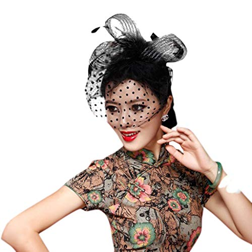 YoungerY Womens Retro Wave Point Mesh Veil Hat Fluffy Feather Solid Color Alligator Hair Clip Half Face Cover Bowknot Fascinator Small Cap Bridal Wedding Hairpins