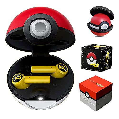 AIMAISEN Casque Bluetooth Pokemon Écouteurs Intra-Auriculaires sans Fil Pokémon Écouteurs étanches Pikachu TWS, contrôle Tactile, Suppression du Bruit, avec étui de Chargement Pokeball
