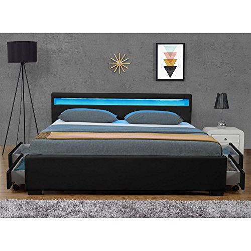 """Polsterbett """"Lyon"""" inklusive Bettkasten – 140 x 200 cm – schwarz - 4"""