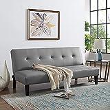 Naomi Home Button Tufted Futon Sofa Bed Gray