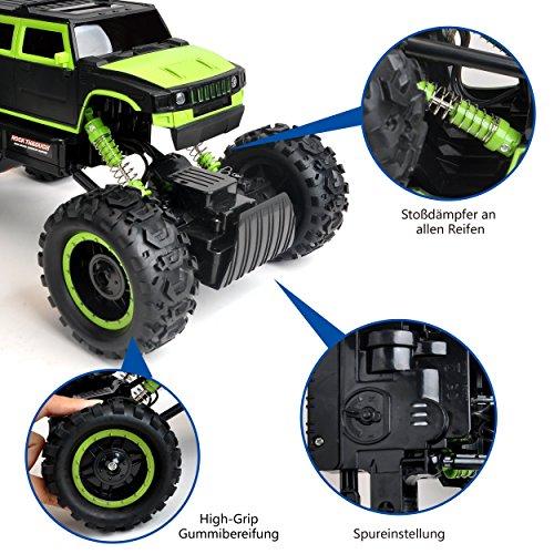 RC Auto kaufen Monstertruck Bild 6: Maximum RC Ferngesteuertes Auto für Kinder - 4WD Monstertruck - XL RC Auto für Kinder ab 8 Jahren - Rock Crawler (grün)*
