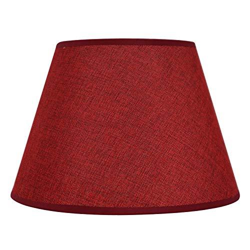 DULEE 12 Zoll Leinen E27 Schraubtisch Lampenschirme Lightshade für Tischlampe Bedlamp, (Top) 16 cm x (Höhe) 20 cm x (unten) 30 cm, WeinRot Leinen