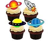 Made4You Tortendekoration, Weltraumschiff, Rakete und Planeten, bunt, essbare Kuchendekorationen – Aufstellbare Oblaten, 12er-Pack