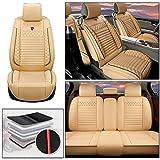 WANLING Housses Siège Auto Housse 5 Places pour Audi A3 5-Seats Wear Resistant Faux Leatherette Cushions Beige
