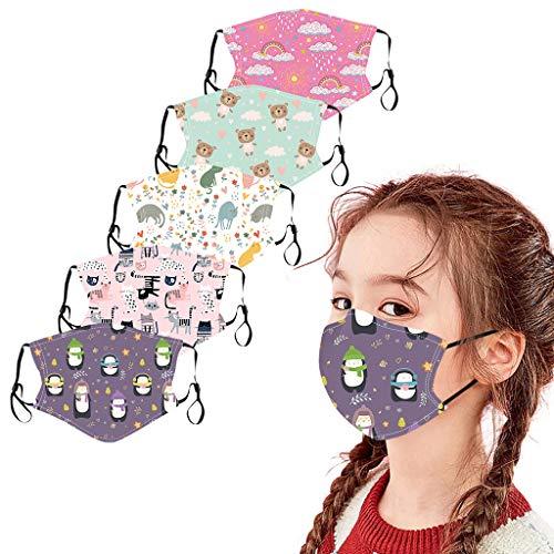 CICIYONER 5 Stück Kinder-Mundschutz mit motiv Cartoon Druck,Waschbar Wiederverwendbar,Baumwolle Stoff Atmungsaktiv,Gesichtsschutz Halstuch Für Jungen Mädchen (P)