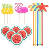 120 Pieces Coconut Tree Cocktail Stirrers Swizzle Sticks 3D Flamingo Pineapple Cocktail Sticks Paper Umbrellas Sticks for Drinks Cocktail Accessories Cocktail Decorations Supplies for Summer Party