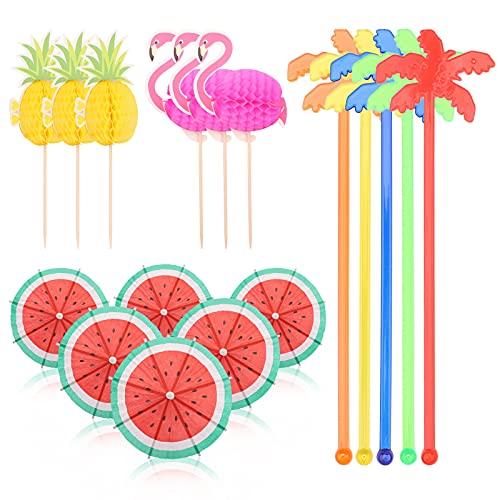Hileyu 120 Piezas de Palillos para Revolver Cóctel árbol de Coco, Sombrillas de Cóctel Papel 3D piña y flamencos de Palitos de Cóctel Brochetas Colorido Accesorios De Cóctel para Fiestas de Verano