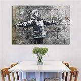 KWzEQ Artista Lamiendo Nieve Niños Lienzo Sala de Estar Decoración del hogar Arte Moderno de la Pared Pintura al óleo Cartel Arte,Pintura sin Marco,60x90cm