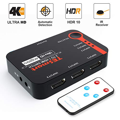 TESmart 3x1 HDMI Switch 3 ingangen 1 uitgang 4K@60Hz 3 Port Smart HDMI Switch, HDCP 2.2, Splitter, voor Xbox 360 / One, PS3 / PS4, etc. Full HD1080P, 3D, HDR met Infrarood Afstandsbediening