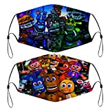 Five Nights at Freddy's Bears Character 2 PCS Face Cover Kids Reusable Bandanas Washable Outdoor Covers