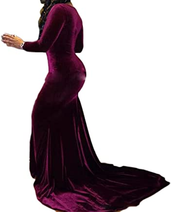 45c5f316859a Veilace Women's Burgundy V neck Prom Dress Long Sleeve Mermaid Velvet Evening  Dress .