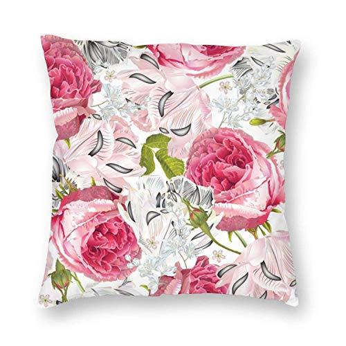 xdbgdfhdhdjdj Funda de almohada romántica y hermosa, con diseño de flores, color rojo y rosa inglesa, suave y hermosa, para decoración del hogar, para sala de estar, jardín