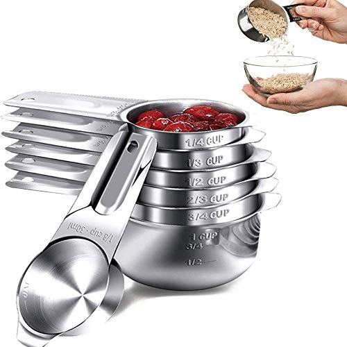 7 Stück Messbecher & Löffel-Sets, 304 Edelstahl Messlöffel und Becher Set mit Messlineal, für Küche Kochen und Backen