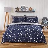 Dreamscene Moon Stars Galaxy Duvet Cover with Pillowcase Reversible Night Sky Bedding Set, Navy Blue Grey - Single