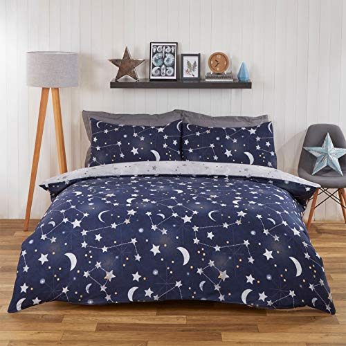 Dreamscene Moon Stars Galaxy Duvet Cover with Pillowcase Reversible Night Sky Bedding Set, Navy Blue Grey - Single