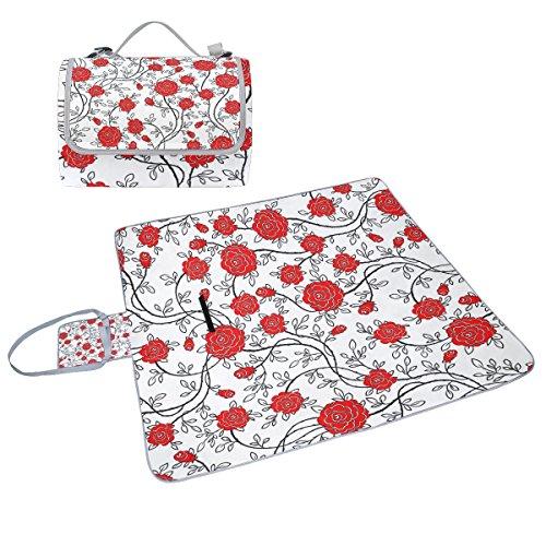 COOSUN Romantisches Picknick Decke, mit Rosenmotiv, schimmelresistent, wasserdicht, für Picknicks, Strand, Wandern, Reisen, rving kurze