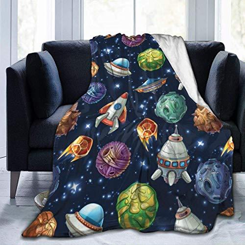 Not Applicable Manta de Franela, Planetas espaciales Dibujos Animados no se desvanecen Manta de Franela de Vacaciones compacta 102x127cm