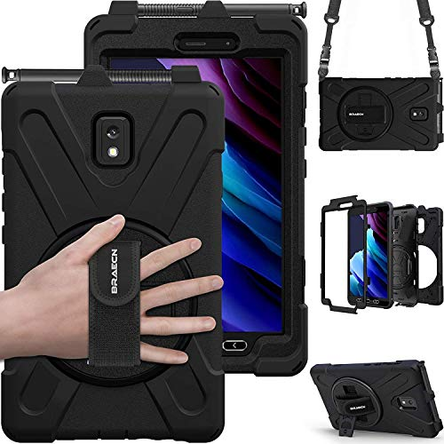 BRAECN Hülle für Samsung Galaxy Tab Active3 8.0, Stoßfeste Robuste Tragbare Hülle mit 360° Drehbarem Ständer, Handgurt, Stifthalter & Schultergurt SM-T570/SM-T575/SM-T575N-Schwarz