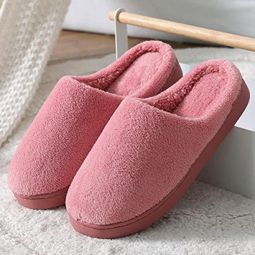 QPPQ Zapatillas de algodón para el hogar, pantuflas cálidas en invierno, zapatillas de algodón antideslizantes para hombres y mujeres en otoño e invierno, rosa oscuro_4.5/5, zapatillas esponjosas