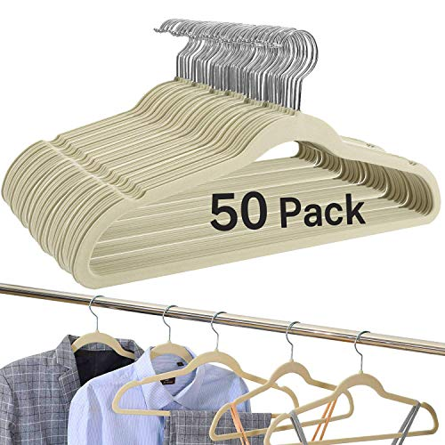 BAGAIL Pack of 50 Ivory Velvet HangersNon Slip Notched CoatSuit HangersHeavy Duty Space Saving Clothes Hangers with 360 Degree Swivel Hook 50 Pack Ivory