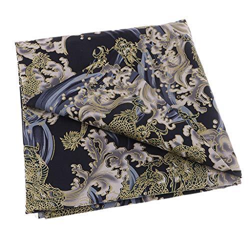 freneci Dragón Chino - Tela de Algodón - Materiales de Costura Hanfu/Cheongsam/Kimono - Azul 0.5m, Individual