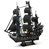 CubicFun 3D Pirate Ship Puzzle for Adults LED Sailboat Vessel Model Kits, Large Black Queen Anne's Revenge Difficult Puzzles with Led Lights Watercraft Gift for Men Women, 340 Pieces